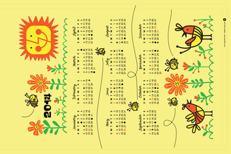 2014 Bees Calendar fabric by edward_elementary on Spoonflower - custom fabric