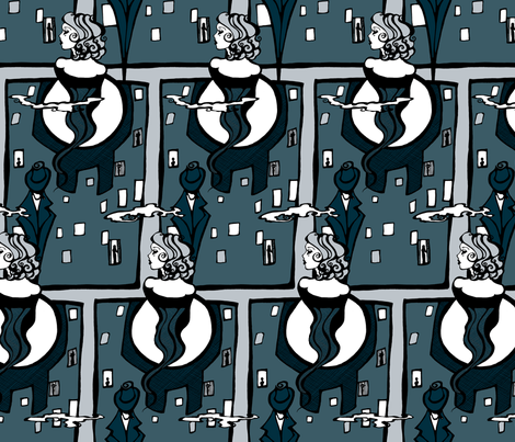 Blue City Film Noir fabric by art_rat on Spoonflower - custom fabric