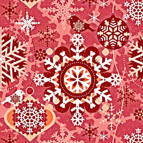 snowflakes in garden red