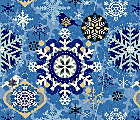 snowflakes in garden blue