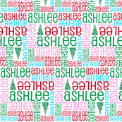 Personalised Name Fabric - Christmas Pink Aqua