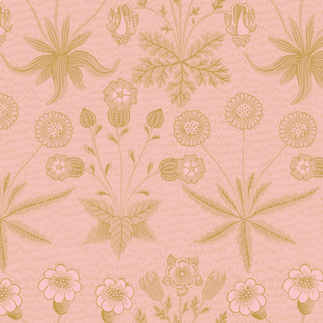 William Morris Daisy ~ Gilt on Dauphine fabric by peacoquettedesigns on Spoonflower - custom fabric