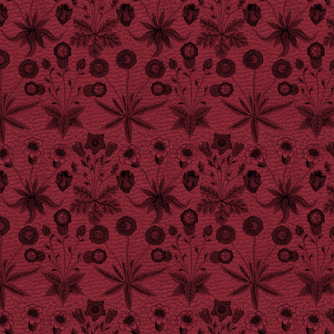 William Morris Daisy ~ Oxblood fabric by peacoquettedesigns on Spoonflower - custom fabric