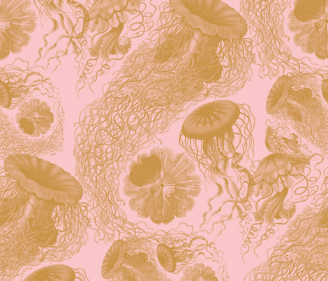Jellyfish ~ Dauphine and Gilt Swarm fabric by peacoquettedesigns on Spoonflower - custom fabric