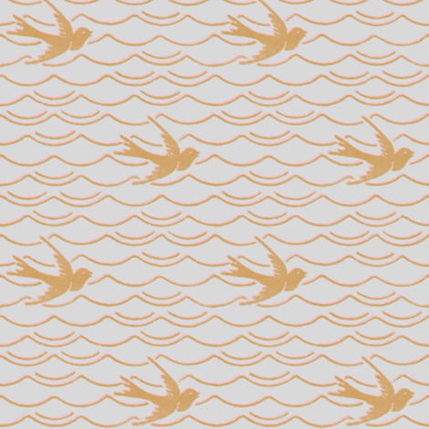 Birds Upon The Sea ~ Silver Leaf with Dauphine and Gilt fabric by peacoquettedesigns on Spoonflower - custom fabric