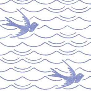 Birds Upon The Sea ~ Blue & White
