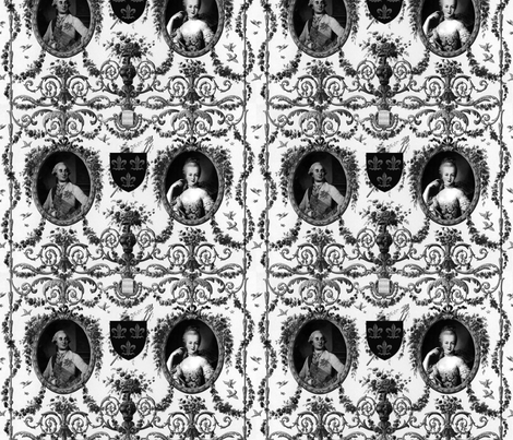 Rococo Lovers ~ Louis XVI and Marie Antoinette ~ Black and White fabric by peacoquettedesigns on Spoonflower - custom fabric
