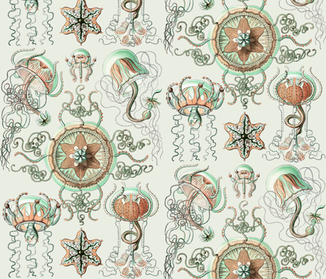 Haeckel Trachomedusae Jellyfish fabric by peacoquettedesigns on Spoonflower - custom fabric