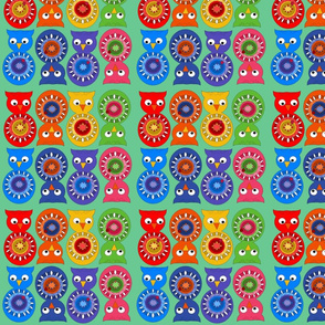 Rainbow Owls Fabric
