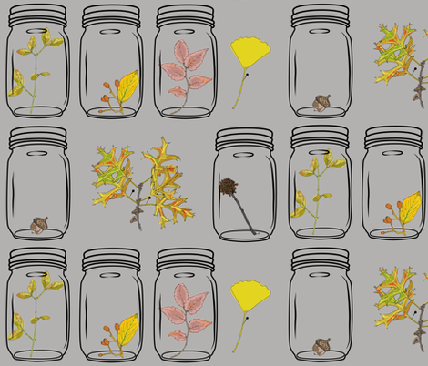 Autumn Specimens in Grey fabric by fortheloveofholidays on Spoonflower - custom fabric