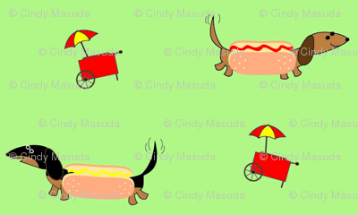 Dachshunds Dressed as Hot Dogs by Sudachan