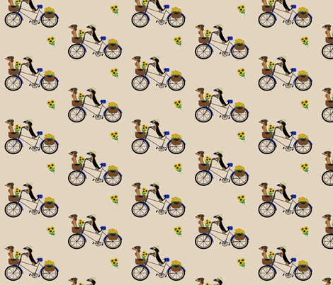 Dachshunds on Bicycle by Sudachan - Brown fabric by sudachan on Spoonflower - custom fabric