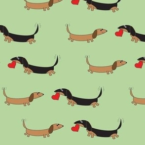 Dachshunds with Heart by Sudachan - Green