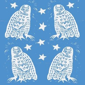 White Owls and Sky Blue