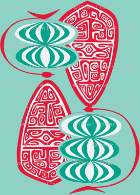 Havaiki Holiday stacked globes  on pale blue