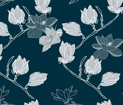 Blue_Magnolias fabric by collage on Spoonflower - custom fabric