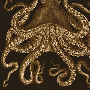 Octopus Oasis Sepia on Black