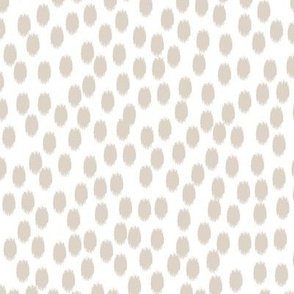 Linen Beige and White Scattered Dots