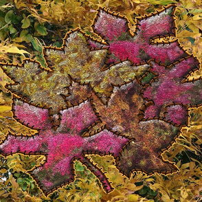 Painted Autumn Leaves Stitched to a  Photograph