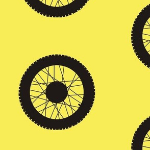 Motocross wheel on classic yellow
