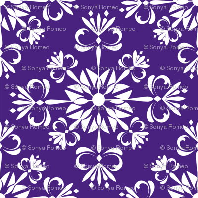 Christmas Damask Purple