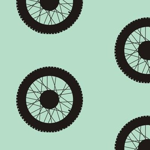 Motorcross wheel on classic blue