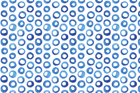 Dark Blue Watercolor Circles fabric by katebutler on Spoonflower - custom fabric