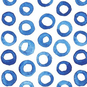 Dark Blue Watercolor Circles