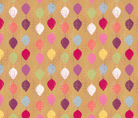 """graphic fall leaves beige"" fabric by nadja_petremand on Spoonflower - custom fabric"