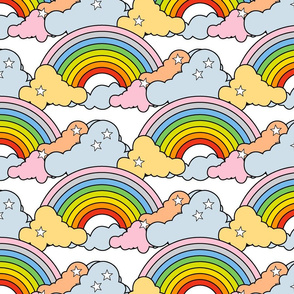 Rainbows to the Max (Maxed-Out White) || rainbow clouds stars 80s retro pop art pride children kids baby nursery