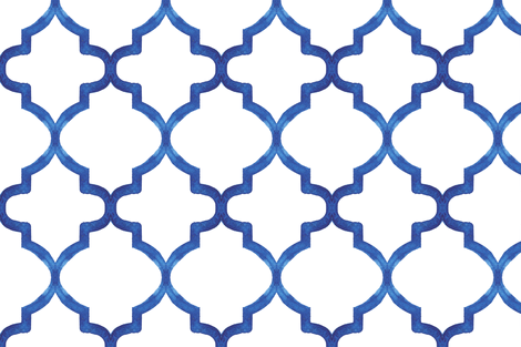 Blue Watercolor Quatrefoil fabric by katebutler on Spoonflower - custom fabric