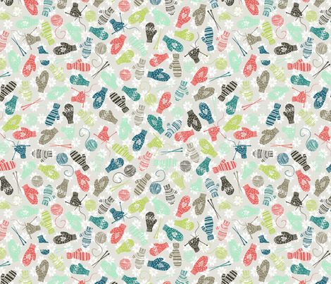 Mitten Knitting Party {Tan} fabric by radianthomestudio on Spoonflower - custom fabric