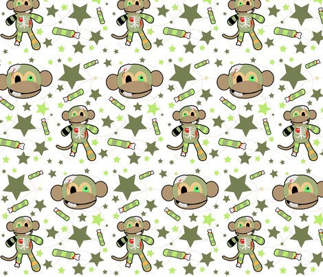Ralph the Zombie Monkey - Pattern fabric by staceyjean on Spoonflower - custom fabric