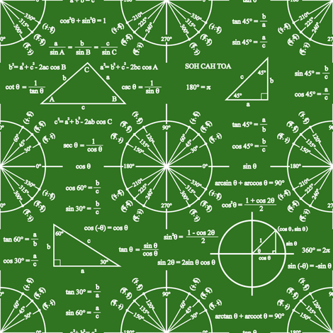 Trig & Triangles (Chalkboard) fabric by robyriker on Spoonflower - custom fabric