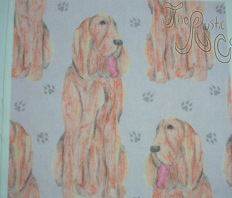 Sitting watercolor Bloodhounds - lavender