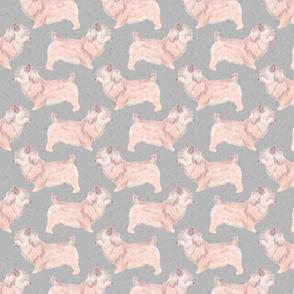 Glen of Imaal Terriers watercolor - gray