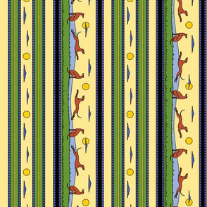 Frolicking Greyhounds, multicolor stripes