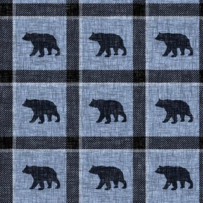 Bear Plaid - steel