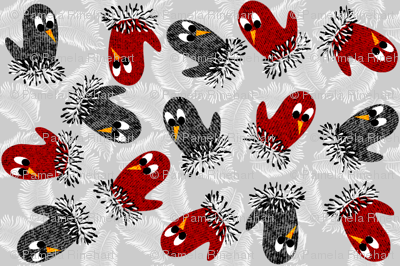 bird mittens ditsy fabric