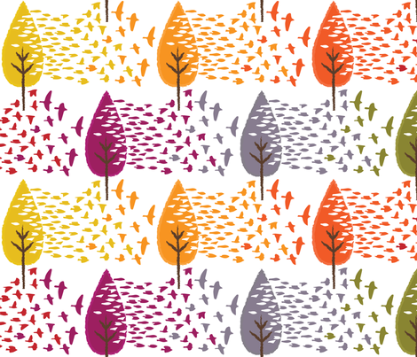 Fall Leaves & Birds Do Too fabric by sammyk on Spoonflower - custom fabric