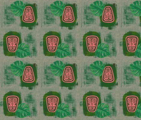 Havaiki Holiday 2013 Spirit of Havaiki, Frosted Fiji Pine fabric by sophista-tiki_by_dawn_frasier on Spoonflower - custom fabric