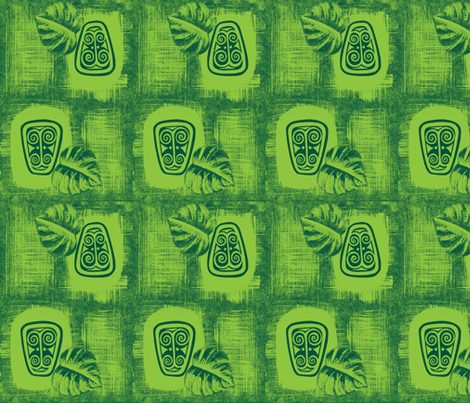 Havaiki spirit mono-green fabric by sophista-tiki on Spoonflower - custom fabric