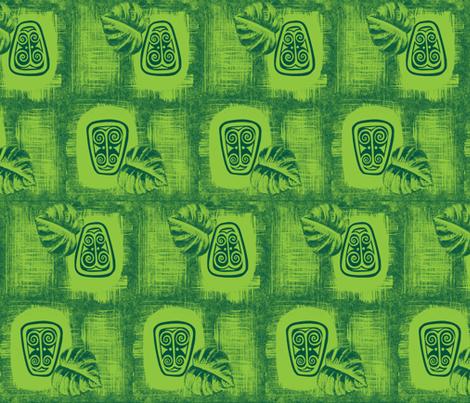 Havaiki spirit mono-green fabric by sophista-tiki_by_dawn_frasier on Spoonflower - custom fabric