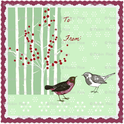 Winter Bird Gift Tag Decal