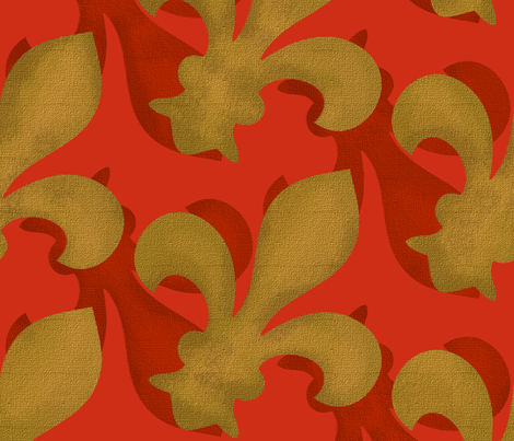 Fleur~De~Lis ~ Christmas Gilt and Red fabric by peacoquettedesigns on Spoonflower - custom fabric
