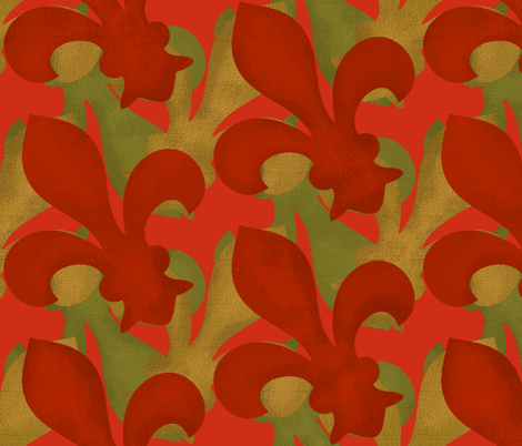 Fleur~De~Lis ~ Christmas Gilt, Green and Red fabric by peacoquettedesigns on Spoonflower - custom fabric