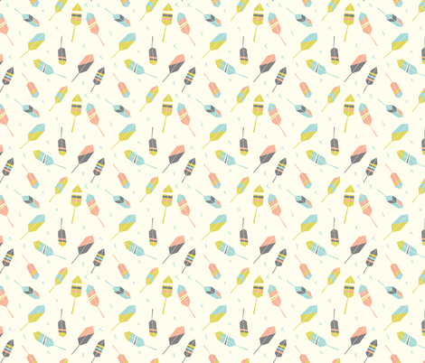 Feathers - Girl fabric by ajfrenchdesigns on Spoonflower - custom fabric