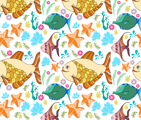 cute fishes fabric by isamelisa on Spoonflower - custom fabric