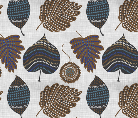 Falling leaves fabric by chulabird on Spoonflower - custom fabric