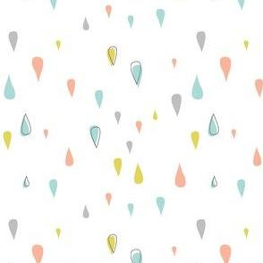 Dew Drops - Aqua Pink Yellow Gray